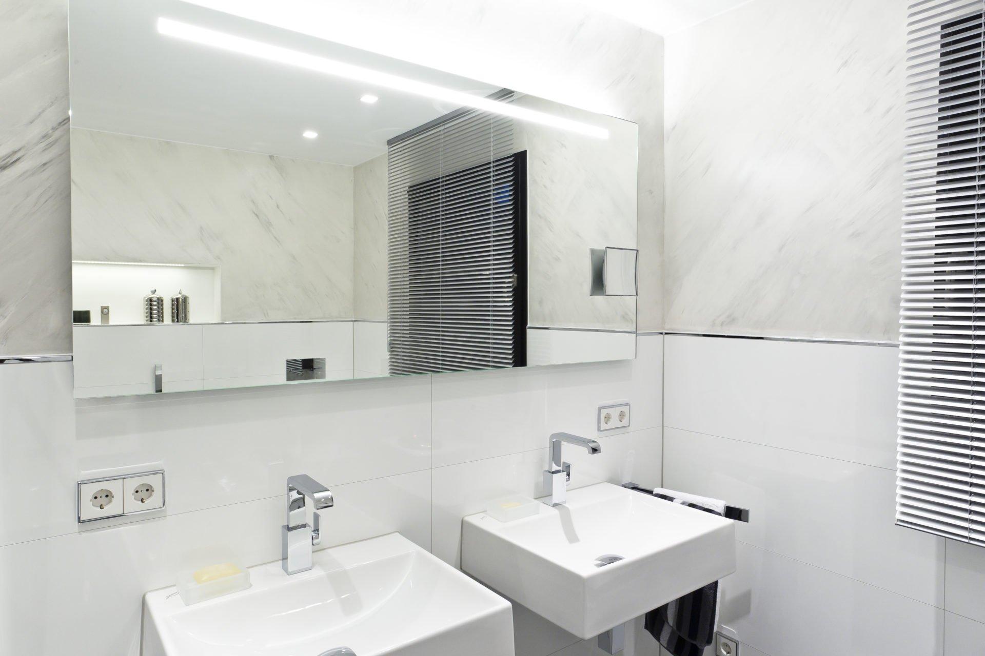 Badezimmer Weiß | Badezimmer Weiss Doppelwaschtisch Grosser Spiegel Nowak Gmbh