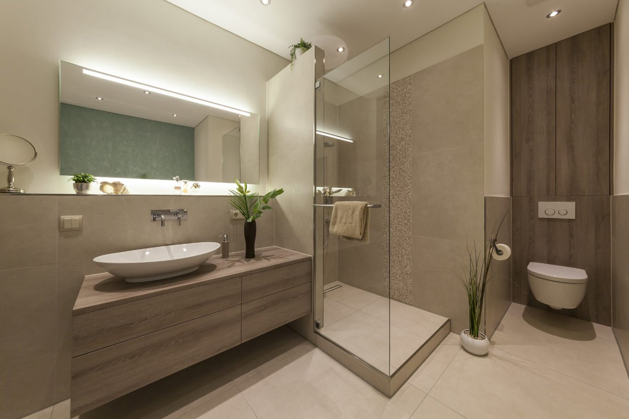 Badezimmer Wohnen Badmöbel Waschbecken Dusche WC